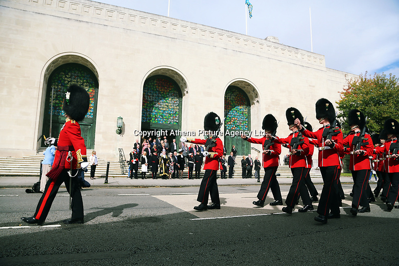 Pictured: The Welsh Guards parade through St Helen's Street past the Guild Hall in Swansea.  Friday 15 September 2017<br />Re: Soldiers from the Welsh Guards have exercised their freedom to march through the streets of Swansea in Wales, UK.<br />The Welsh warriors paraded with bayonets-fixed from the city centre to the Brangwyn Hall, where the Lord Mayor of Swansea took a salute.