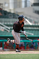 GCL Orioles right fielder Davis Tavarez (3) runs to first base during a game against the GCL Red Sox on August 9, 2018 at JetBlue Park in Fort Myers, Florida.  GCL Red Sox defeated GCL Orioles 10-4.  (Mike Janes/Four Seam Images)