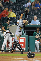 West Virginia Power catcher Deon Stafford (22) catches a pop fly during the game against the Greensboro Grasshoppers at First National Bank Field on June 1, 2018 in Greensboro, North Carolina. The Grasshoppers defeated the Power 10-3. (Brian Westerholt/Four Seam Images)