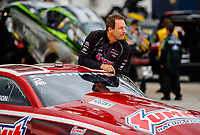Sep 1, 2017; Clermont, IN, USA; NHRA pro stock driver Greg Anderson during qualifying for the US Nationals at Lucas Oil Raceway. Mandatory Credit: Mark J. Rebilas-USA TODAY Sports