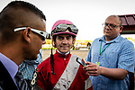 OLDSMAR, FLORIDA - FEBRUARY 11: Brian Joseph Hernandez (pink hat), being interviewed by Nick Fortuna and Andrew Demsky, after he wins the Sam F. Davis Stakes, and sets a new track record at Tampa Bay Downs on February 11, 2017 in Oldsmar, Florida (photo by Douglas DeFelice/Eclipse Sportswire/Getty Images)