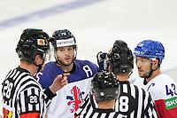 29.05.2021, Riga, Olympic Sports Centre, Czech Republic vs Great Britain 2021 IIHF Ice hockey, Eishockey World Championship, WM, Weltmeisterschaft , 75 Robert Dowd Great Britain and 43 Jan Kovar Czech Republic talking with the referee