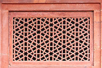 Fatehpur Sikri, Uttar Pradesh, India.  Geometric Islamic Design in Window Laticework.