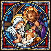 Randy, HOLY FAMILIES, HEILIGE FAMILIE, SAGRADA FAMÍLIA, paintings+++++SG-Holy-Family-stained-glass-square,USRW164,#xr# napkins ,church window, stained glass