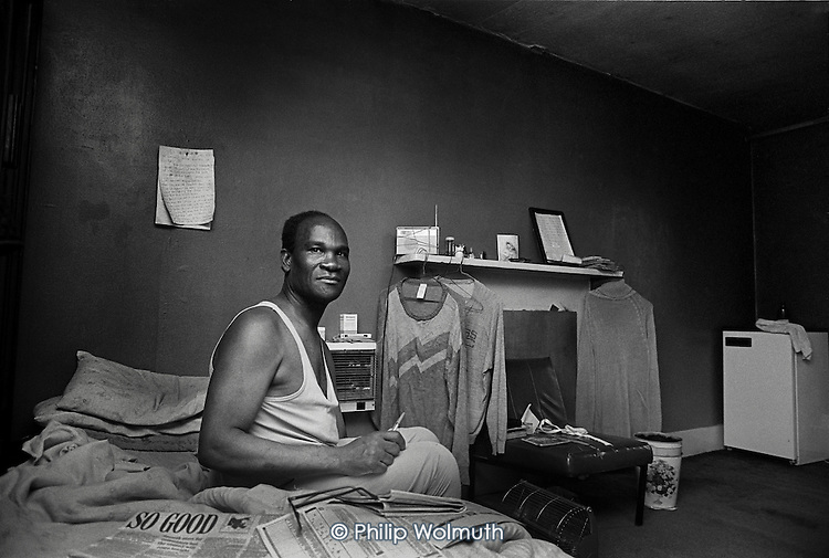 Emmanual Aimable, a tenant of Hazel Court, a private rooming house in Bayswater, West London, notorious for its disrepair and harrassment of tenants by the landlord.