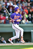 Clemson Tigers shortstop Logan Davidson (8) swings at a pitch during a game against the South Carolina Gamecocks at Fluor Field on March 3, 2018 in Greenville, South Carolina. The Tigers defeated the Gamecocks 5-1. (Tony Farlow/Four Seam Images)
