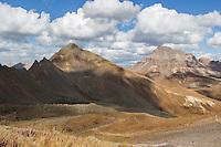 Matterhorn Peak (13,590 feet) and Uncompahgre Peak (14,314 feet), near Lake City, Colorado.  This photo is taken from the southeast ridge of Wetterhorn Peak.