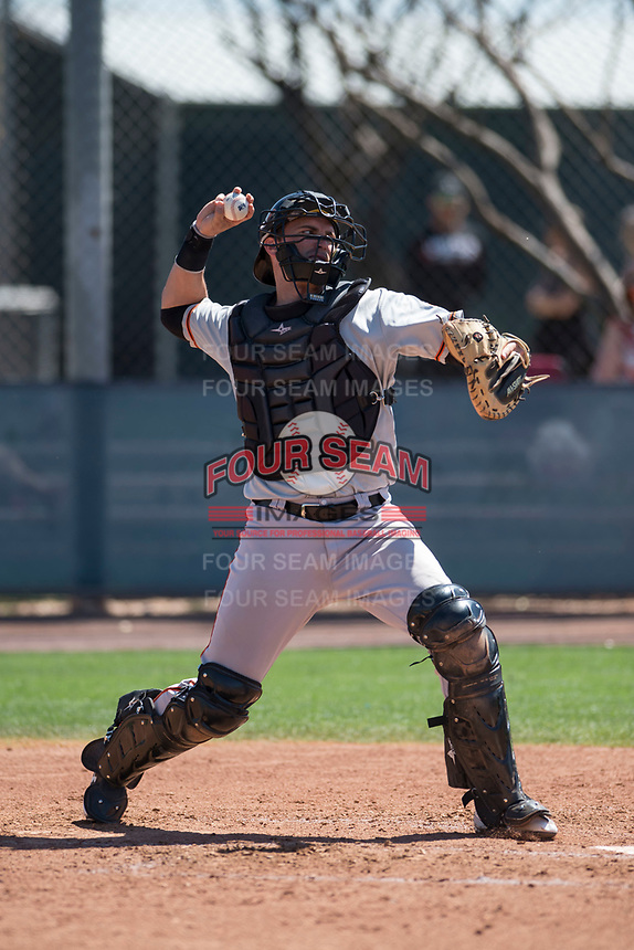 San Francisco Giants catcher Jeff Arnold (35) during a Minor League Spring Training game against the Arizona Diamondbacks at Salt River Fields at Talking Stick on March 28, 2018 in Scottsdale, Arizona. (Zachary Lucy/Four Seam Images)