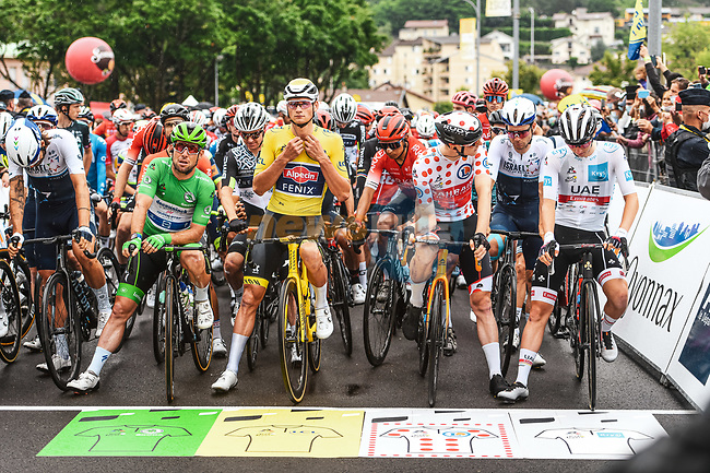 The jersey leaders line up for the start of Stage 8 of the 2021 Tour de France, running 150.8km from Oyonnax to Le Grand-Bornand, France. 3rd July 2021.  <br /> Picture: A.S.O./Charly Lopez | Cyclefile<br /> <br /> All photos usage must carry mandatory copyright credit (© Cyclefile | A.S.O./Charly Lopez)