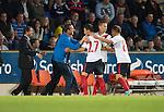 St Johnstone v FC Minsk...08.08.13 Europa League Qualifier<br /> Milos Rnic celebrates his goal<br /> Picture by Graeme Hart.<br /> Copyright Perthshire Picture Agency<br /> Tel: 01738 623350  Mobile: 07990 594431