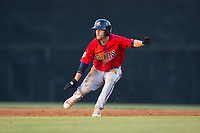 Colton Waltner (26) of the Elizabethton Twins takes his lead off of first base against the Danville Braves at American Legion Post 325 Field on July 1, 2017 in Danville, Virginia.  The Twins defeated the Braves 7-4.  (Brian Westerholt/Four Seam Images)