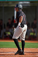 Rutgers Scarlet Knights center fielder Jawuan Harris (1) at bat during a game against the Indiana Hoosiers on February 23, 2018 at North Charlotte Regional Park in Port Charlotte, Florida.  Indiana defeated Rutgers 7-6.  (Mike Janes/Four Seam Images)
