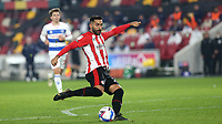 Saman Ghoddos of Brentford takes a short at the QPR goal during Brentford vs Queens Park Rangers, Sky Bet EFL Championship Football at the Brentford Community Stadium on 27th November 2020