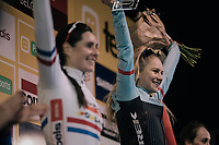 podium ceremony for Evie Richards (GBR/TrekFactoryRacing) who wins her very first Elite World Cup race<br /> <br /> Women's race<br /> UCI CX World Cup Namur / Belgium 2017