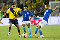 actionn photo during the match Brazil vs Ecuador, Corresponding Group -B- America Cup Centenary 2016, at Rose Bowl Stadium<br /> <br /> Foto de accion durante el partido Brasil vs Ecuador, Correspondiante al Grupo -B-  de la Copa America Centenario USA 2016 en el Estadio Rose Bowl, en la foto:  (i-d) Christian Noboa de Ecuador, Elias y Lucas Moura de Brasil<br /> <br /> <br /> 04/06/2016/MEXSPORT/Victor Posadas.