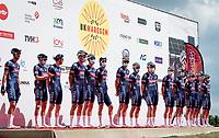 Team Alpecin-Fenix at full force at the team presentation at the race start in the Waregem Hippodrome <br /> <br /> Belgian National Championships 2021 - Road Race<br /> <br /> One day race from Waregem to Waregem (221km)<br /> <br /> ©kramon