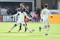 WASHINTON, DC - FEBRUARY 29: Washington, D.C. - February 29, 2020: Kei Kamara #23 of the Colorado Rapids battles the ball with Steven Birnbaum #15 of D.C. United. The Colorado Rapids defeated D.C. United 2-1 during their Major League Soccer (MLS)  match at Audi Field during a game between Colorado Rapids and D.C. United at Audi FIeld on February 29, 2020 in Washinton, DC.