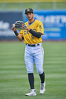 Jake Gatewood (8) of the Salt Lake Bees before the game against the Tacoma Rainiers at Smith's Ballpark on May 16, 2021 in Salt Lake City, Utah. The Bees defeated the Rainiers 8-7. (Stephen Smith/Four Seam Images)