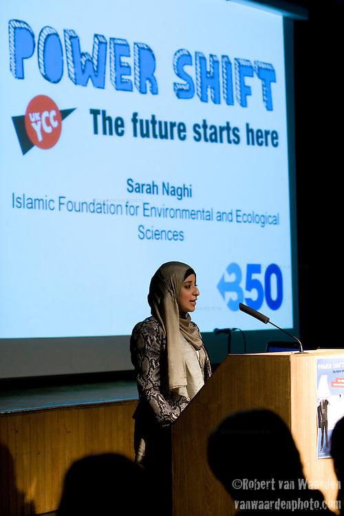 Sarah Naghi - Islamic Foundation for Environmental and Ecological Sciences speaks at Powershift UK. (©Robert vanWaarden)