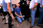 'GAYFEST MANCHESTER, UK', GAY DRINKERS OUTSIDE THE REMBRANDT HOTEL AND BAR, IN 'THE VILLAGE' DURING THE GAY PARADE, 1999