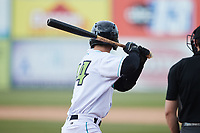 Will Bartlett (44) of the Lynchburg Hillcats at bat against the Myrtle Beach Pelicans at Bank of the James Stadium on May 23, 2021 in Lynchburg, Virginia. (Brian Westerholt/Four Seam Images)