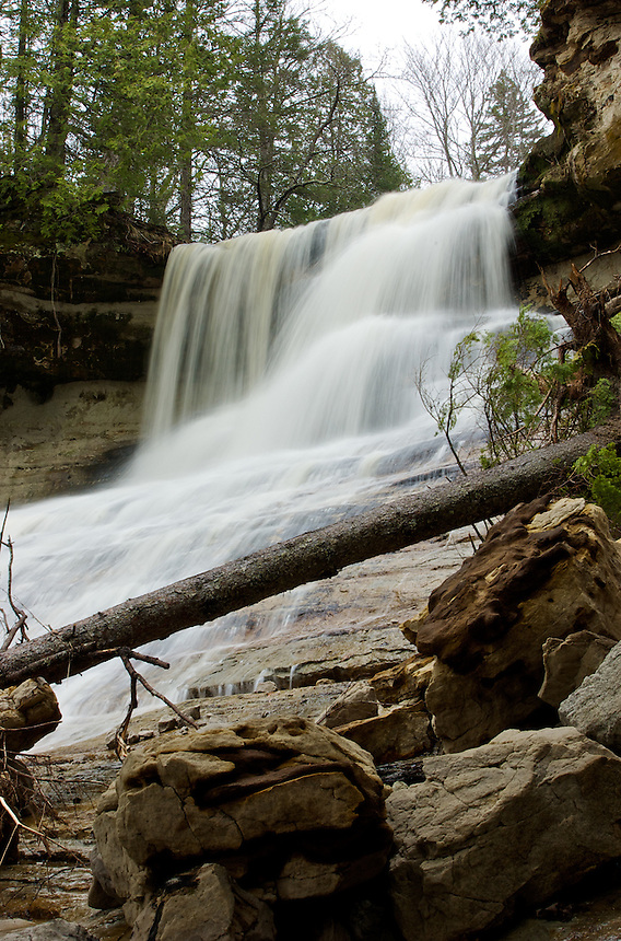 Laughing Whitefish Falls during the spring season. Western Alger County - Michigan's Upper Peninsula.