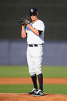 Tampa Yankees pitcher Shane Greene #48 during a game against the Lakeland Flying Tigers at Steinbrenner Field on April 6, 2013 in Tampa, Florida.  Lakeland defeated Tampa 8-3.  (Mike Janes/Four Seam Images)