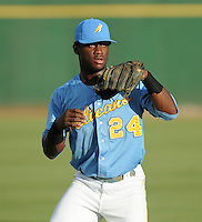 Infielder Odubel Herrera (24) of the Myrtle Beach Pelicans prior to a game against the Frederick Keys on August 4, 2012, at TicketReturn.Com Field in Myrtle Beach, South Carolina. Myrtle Beach won, 4-3. (Tom Priddy/Four Seam Images)