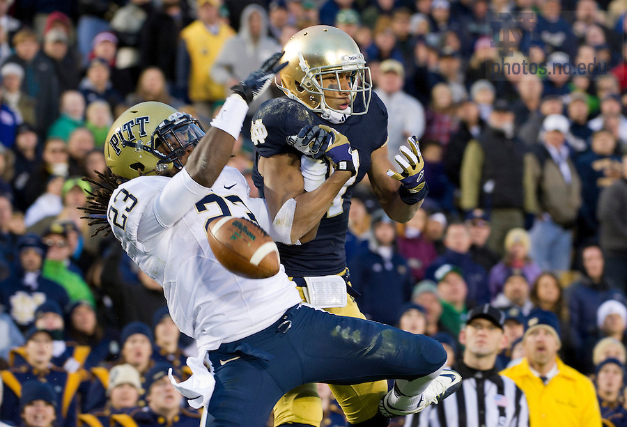 Nov. 3, 2012; TJ Jones cannot make the catch as defensive back Lafayette Pitts defends in the fourth quarter. Photo by Barbara Johnston/University of Notre Dame