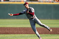Mississippi State Bulldogs shortstop Jordan Westburg (11) makes a play on a ball against the Tennessee Volunteers in Southeastern Conference action at Lindsey Nelson Stadium in Knoxville, Tennessee, on April 6, 2019. Tennessee won 2-1. (Danny Parker/Four Seam Images)