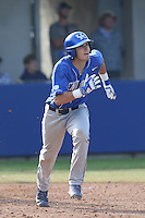 Evan White (19) of the Kentucky Wildcats runs to first base during a game against the UC Santa Barbara Gauchos at Caesar Uyesaka Stadium on March 20, 2015 in Santa Barbara, California. UC Santa Barbara defeated Kentucky, 10-3. (Larry Goren/Four Seam Images)