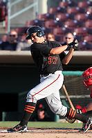 San Jose Giants catcher Jesus Navarro #37 bats against the Inland Empire 66'ers at Arrowhead Credit Union Park on July 31, 2011 in San Bernardino,California. San Jose defeated Inland Empire 6-3.(Larry Goren/Four Seam Images)