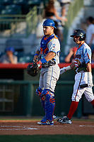 St. Lucie Mets catcher Brandon Brosher (25) waits as Omar Obregon (2) walks to the plate during a game against the Florida Fire Frogs on April 19, 2018 at Osceola County Stadium in Kissimmee, Florida.  St. Lucie defeated Florida 3-2.  (Mike Janes/Four Seam Images)