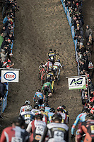 Wout Van Aert (BEL/Crelan Charles) and Laurens Sweeck (BEL/Era Circus) already side by side in the early beginning of the race.<br /> <br /> Men's Elite Race<br /> Belgian National Cyclocross Championships 2018 / Koksijde