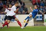 St Johnstone v FC Minsk...08.08.13 Europa League Qualifier<br /> Stevie May's shot is blocked<br /> Picture by Graeme Hart.<br /> Copyright Perthshire Picture Agency<br /> Tel: 01738 623350  Mobile: 07990 594431