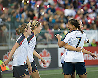 Shannon Boxx, USA team celebrates. The US Women's National Team defeated the Canadian Women's National Team, 4-0, at BMO Field in Toronto during an international friendly soccer match on May 25, 2009.