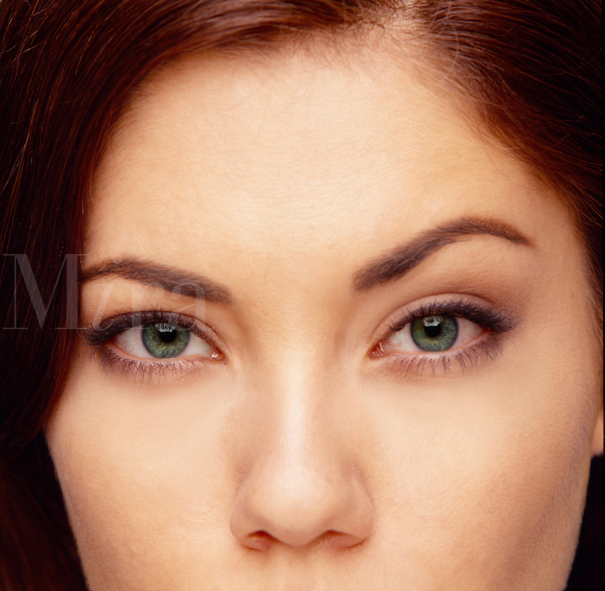 A womans inquisitive eyes.