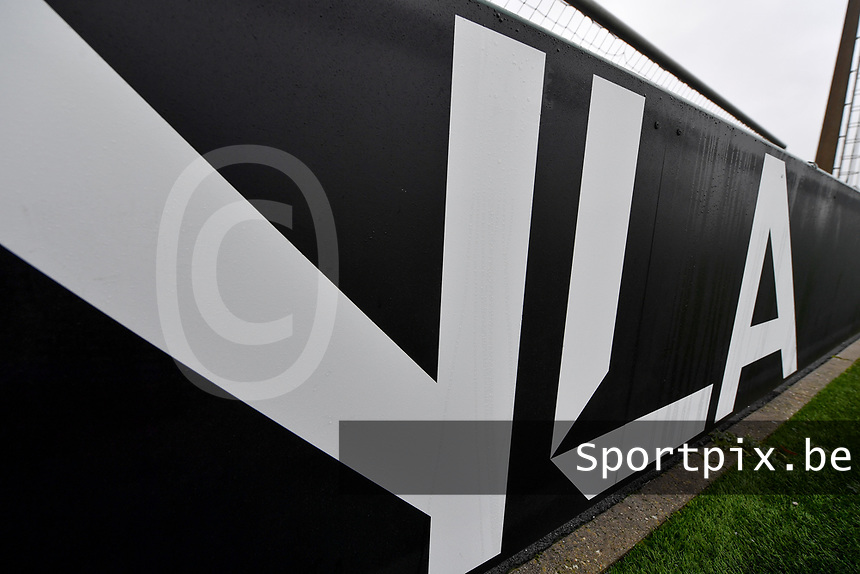 illustration picture showing the YLA logo during a female soccer game between Club Brugge Dames YLA and Eendracht Aalst Ladies on the 9 th matchday of the 2020 - 2021 season of Belgian Scooore Womens Super League , saturday 12 December 2020  in Brugge , Belgium . PHOTO SPORTPIX.BE | SPP | DAVID CATRY