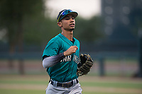 AZL Mariners shortstop Cesar Izturis Jr (3) jogs off the field between innings of an Arizona League game against the AZL White Sox at Camelback Ranch on July 8, 2018 in Glendale, Arizona. The AZL White Sox defeated the AZL Mariners 8-5. (Zachary Lucy/Four Seam Images)