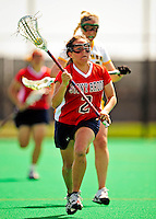 25 April 2009: Stony Brook University Seawolves' attackman Kimberly Wodiska, a Senior from Lake Ronkonkoma, NY, in action against the University of Vermont Catamounts at Moulton Winder Field in Burlington, Vermont. The Lady Cats defeated the visiting Seawolves 19-11 in Vermont's last home game of the 2009 season. Mandatory Photo Credit: Ed Wolfstein Photo