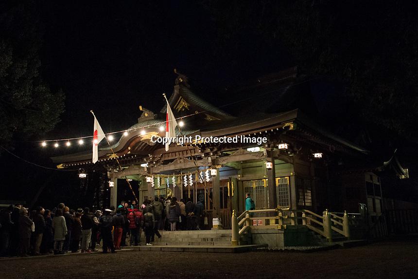 Locals gather at the Yasaka Shrine, Kumagawa, Tokyo, Japan, just after mid-night, 01st Jan 2017.