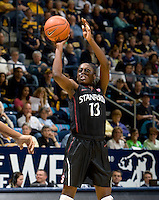 Berkeley, CA - March 4th, 2012: Chiney Ogwumike of Stanford shoots the ball during a basketball game against California in Berkeley, California.   Stanford won, 86-61.