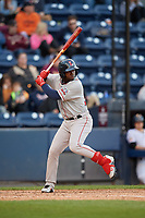 Pawtucket Red Sox center fielder Rusney Castillo (38) bats during a game against the Scranton/Wilkes-Barre RailRiders on May 15, 2017 at PNC Field in Moosic, Pennsylvania.  Scranton defeated Pawtucket 8-4.  (Mike Janes/Four Seam Images)