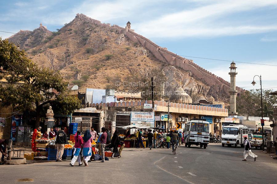 Amer (or Amber) Village Street Scene, near Jaipur, Rajasthan, India.