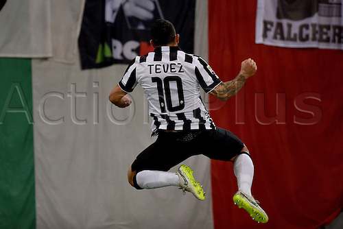 02.03.2015.  Rome, Italy. Serie A Football. AS Roma versus Juventus. Carlos Tevez celebrates after he scored the 0-1 goal for Juventus