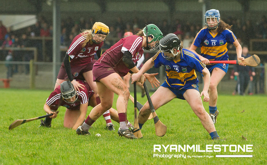 Irish Daily Star Camogie League Division One<br /> Tipperary v Galway<br /> Mairead Teehan (Tipperary) Heather Cooney (Galway)