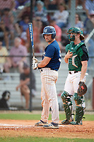Southern Maine Huskies first baseman Sam Stauble (9) at bat during a game against the Dartmouth Big Green on March 23, 2017 at Lake Myrtle Park in Auburndale, Florida.  Dartmouth defeated Southern Maine 9-1.  (Mike Janes/Four Seam Images)