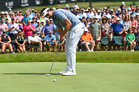 4th July 2021, Detroit, MI, USA;  Curtis Thompson (USA) watches his par putt on 18 during the Rocket Mortgage Classic Rd4 at Detroit Golf Club on July 4,