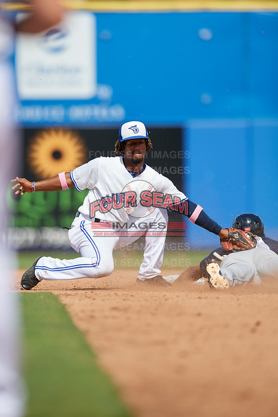 Dunedin Blue Jays shortstop Ivan Castillo (1) tags Derek Hill (18) during a game against the Lakeland Flying Tigers on May 27, 2018 at Dunedin Stadium in Dunedin, Florida.  Lakeland defeated Dunedin 2-1.  (Mike Janes/Four Seam Images)