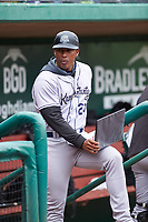 Kane County Cougars coach Carlos Mesa (24) during a Midwest League game against the Fort Wayne TinCaps at Parkview Field on May 1, 2019 in Fort Wayne, Indiana. Fort Wayne defeated Kane County 10-4. (Zachary Lucy/Four Seam Images)